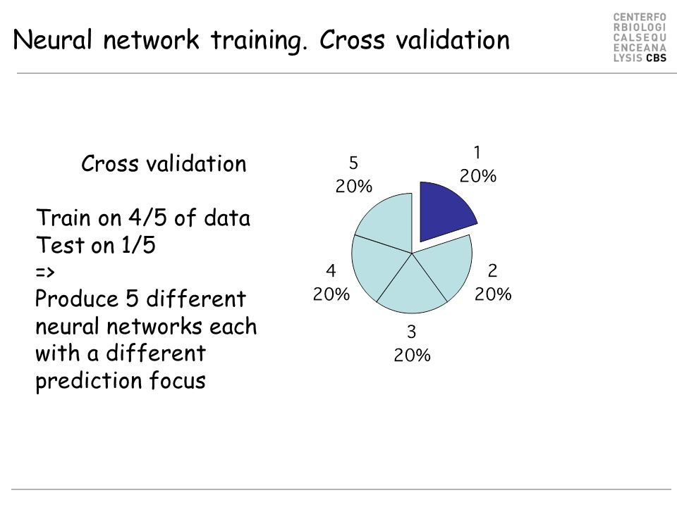 Neural network training. Cross validation Cross validation Train on 4/5 of data Test on 1/5 => Produce 5 different neural networks each with a differe