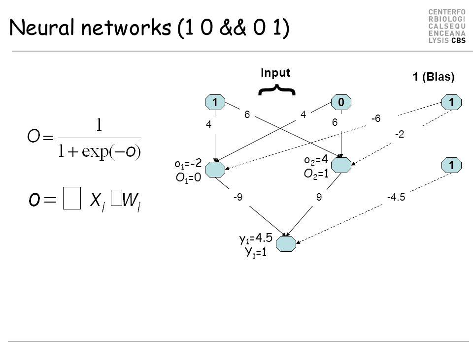 Neural networks (1 0 && 0 1) 10 6 -9 4 6 9 1 -2 -6 4 1 -4.5 Input 1 (Bias) { o 1 =-2 O 1 =0 o 2 =4 O 2 =1 y 1 =4.5 Y 1 =1