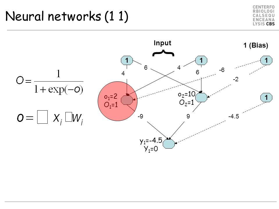Neural networks (1 1) 11 6 -9 4 6 9 1 -2 -6 4 1 -4.5 Input 1 (Bias) { o 1 =2 O 1 =1 o 2 =10 O 2 =1 y 1 =-4.5 Y 1 =0