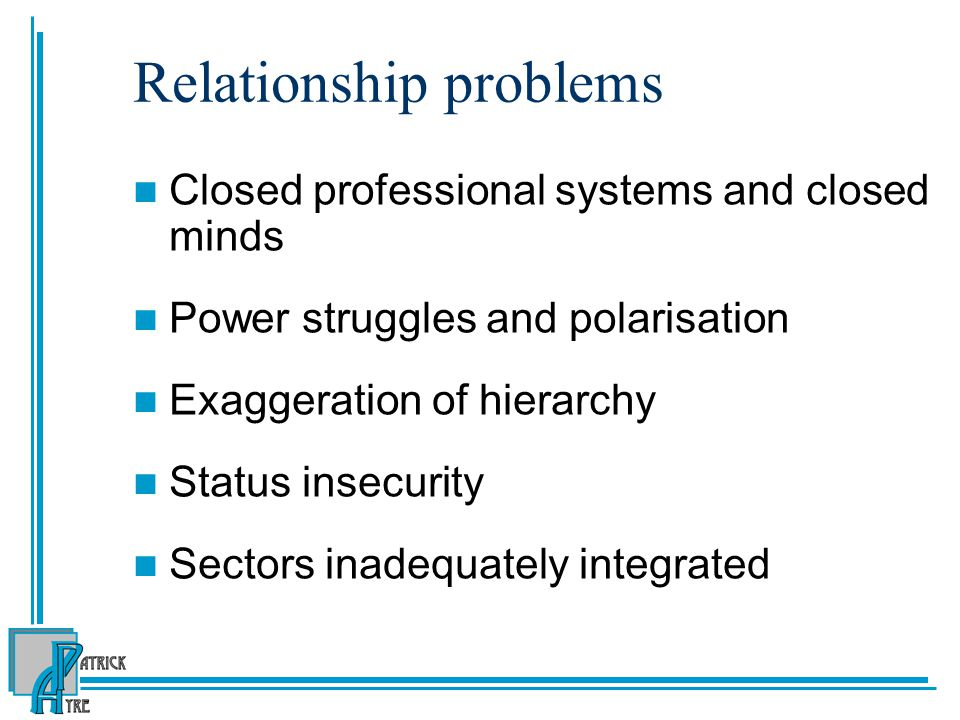 Relationship problems Closed professional systems and closed minds Power struggles and polarisation Exaggeration of hierarchy Status insecurity Sector