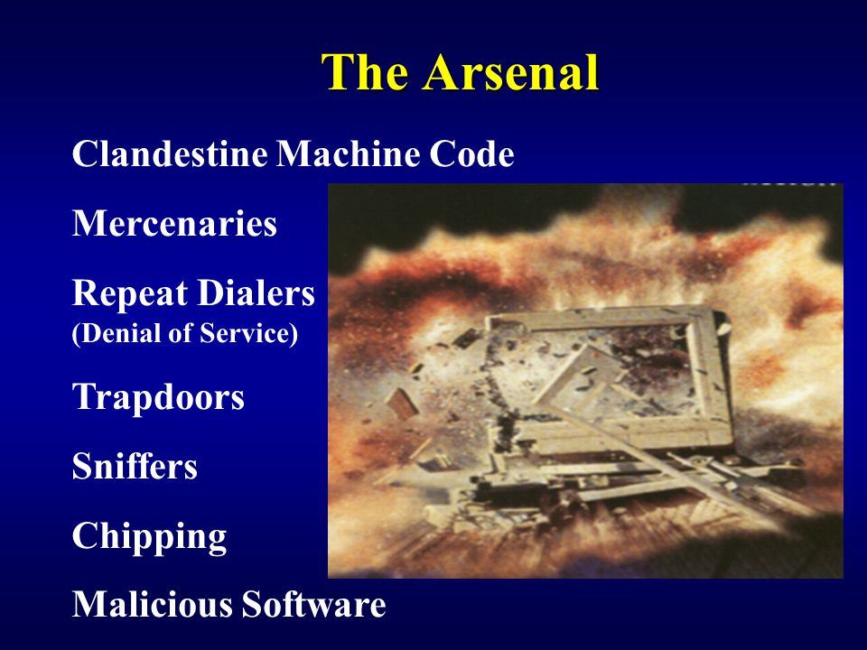 The Arsenal Clandestine Machine Code Mercenaries Repeat Dialers (Denial of Service) Trapdoors Sniffers Chipping Malicious Software