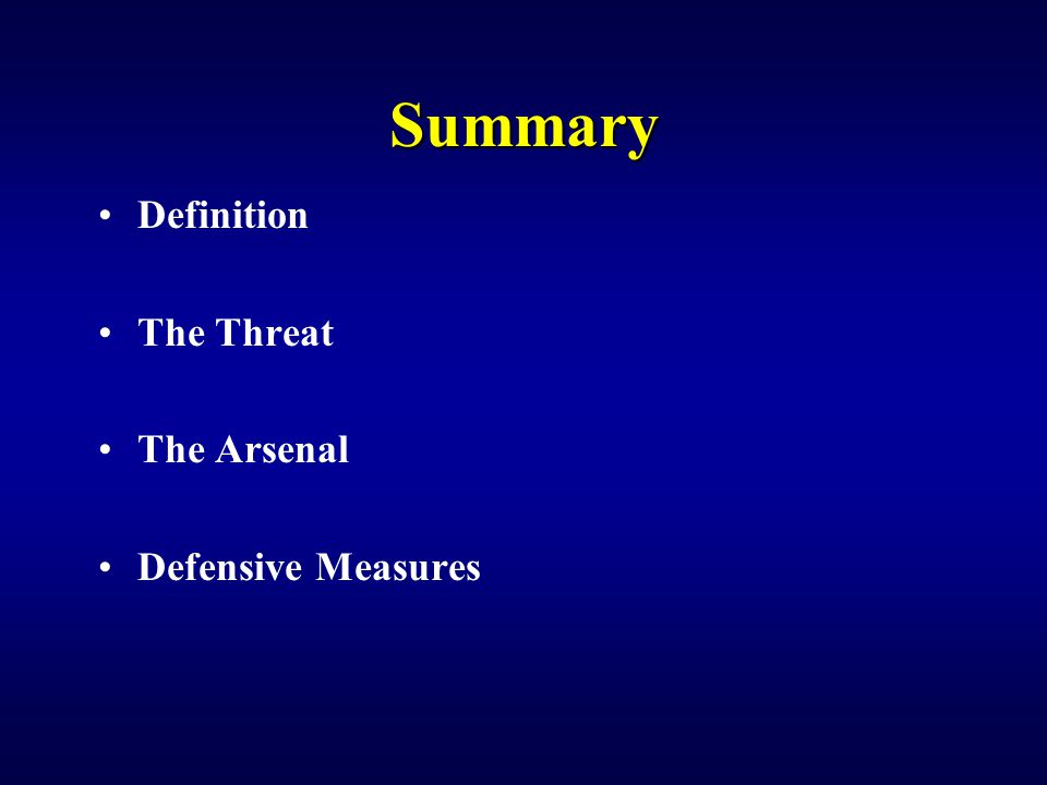 Summary Definition The Threat The Arsenal Defensive Measures