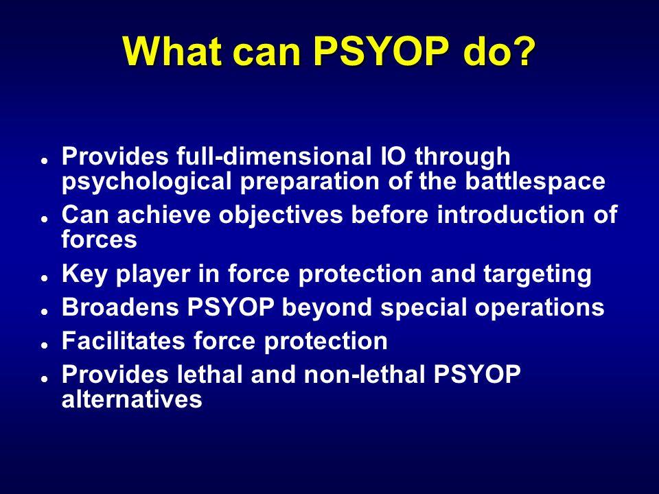 How Does PSYOP Fit In? ARFORMARFORAFFORNAVFORJSOTF THEATER CINC JTF JPOTF