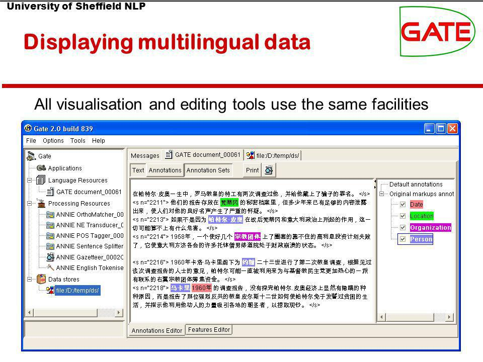 University of Sheffield NLP 83(11) Displaying multilingual data All visualisation and editing tools use the same facilities