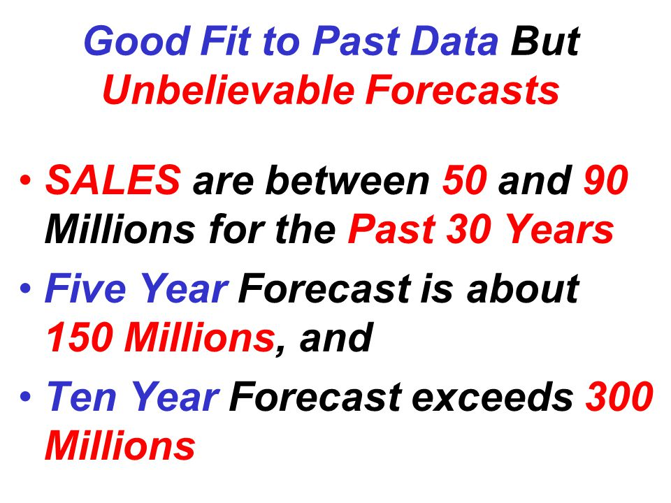 Good Fit to Past Data But Unbelievable Forecasts SALES are between 50 and 90 Millions for the Past 30 Years Five Year Forecast is about 150 Millions, and Ten Year Forecast exceeds 300 Millions