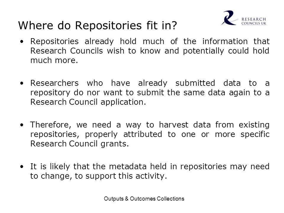 Outputs & Outcomes Collections Where do Repositories fit in.