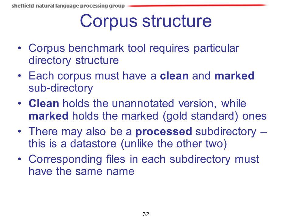 32 Corpus structure Corpus benchmark tool requires particular directory structure Each corpus must have a clean and marked sub-directory Clean holds t