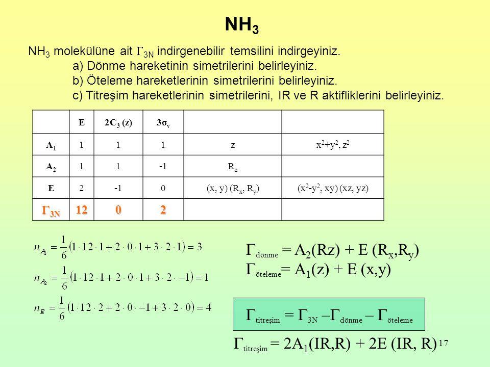 17 NH 3 molekülüne ait  3N indirgenebilir temsilini indirgeyiniz.