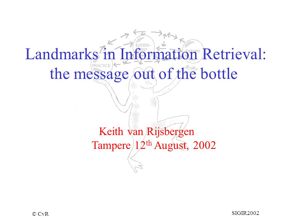 © CvR SIGIR2002 Keith van Rijsbergen Tampere 12 th August, 2002 Landmarks in Information Retrieval: the message out of the bottle