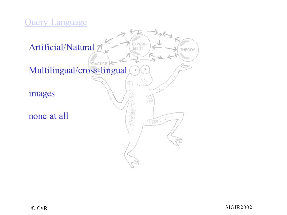 © CvR SIGIR2002 Query Language Artificial/Natural Multilingual/cross-lingual images none at all