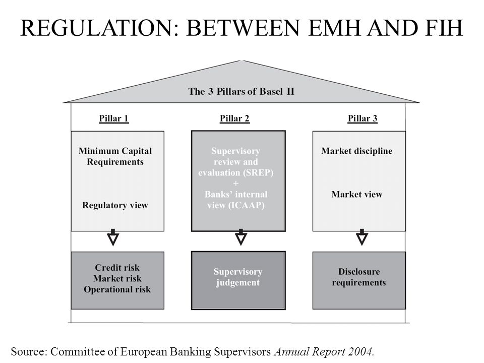REGULATION: BETWEEN EMH AND FIH Source: Committee of European Banking Supervisors Annual Report 2004.