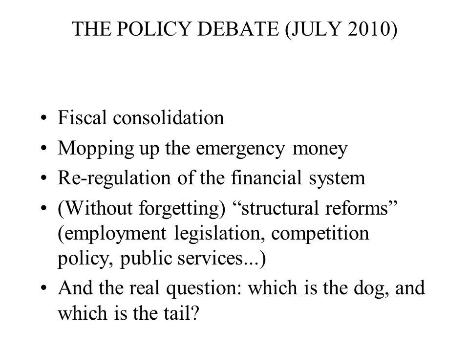 THE POLICY DEBATE (JULY 2010) Fiscal consolidation Mopping up the emergency money Re-regulation of the financial system (Without forgetting) structural reforms (employment legislation, competition policy, public services...) And the real question: which is the dog, and which is the tail?