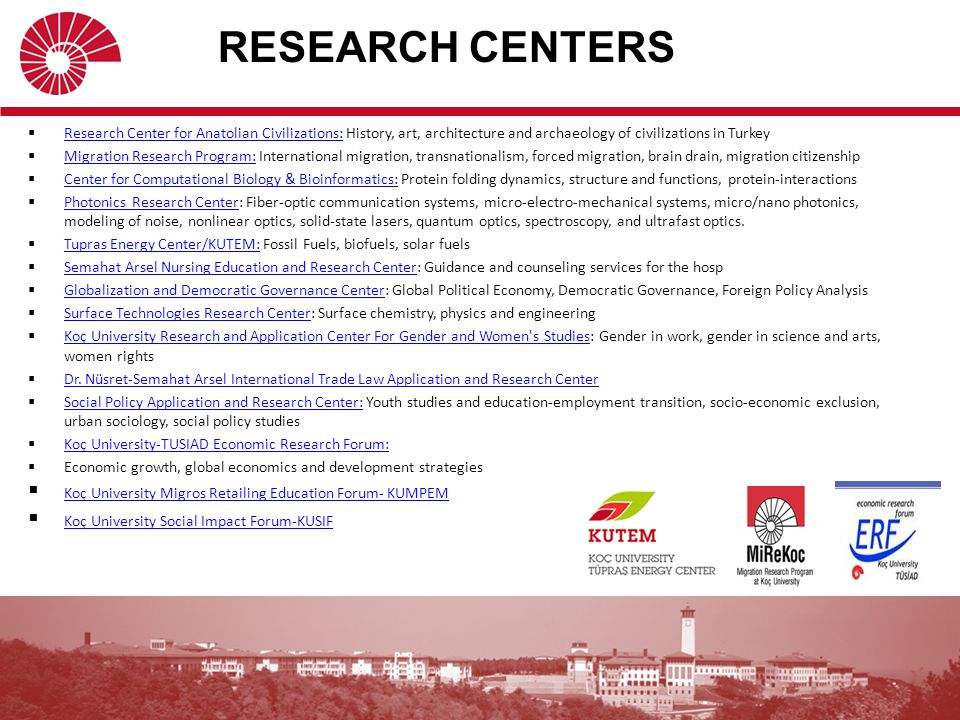 RESEARCH LABORATORIES COLLEGE OF ENGINEERING  Micro-nano Fabrication Laboratory (Clean room)  Robotics and Mechatronics Laboratory (RML)  Advanced Materials Laboratory  Vibration and Design Laboratory  Energy Technologies and Supercritical Fluids Research Laboratuvarı  Molecular Biochemistry Research Laboratory  Cell and Tissue Enginerring Laboratory  Wireless Vehicular Networks Laboratory  Wireless Communication and Network Laboratory  Computational Fluid Dynamics Laboratory (CFD)  Center for Advanced Design Technologies Intelligent User Interfaces Laboratory  Composite Materials Manifacturing Laboratory (KMÜL)  Networks and Distributed Systems Laboratory (NDSL)  Next-generation Wireless Comunication Laboratory (GKHL) Cryptography, Security &Privacy Research Group (CRYPTO) Systems Laboratory COLLEGE OF ADMINISTRATIVE SCIENCES AND ECONOMICS Behavioral Sciences Laboratory SCHOOL OF NURSING Practical Laboratory Micro Chemistry Laboratory Physiology Anatomy Laboratory