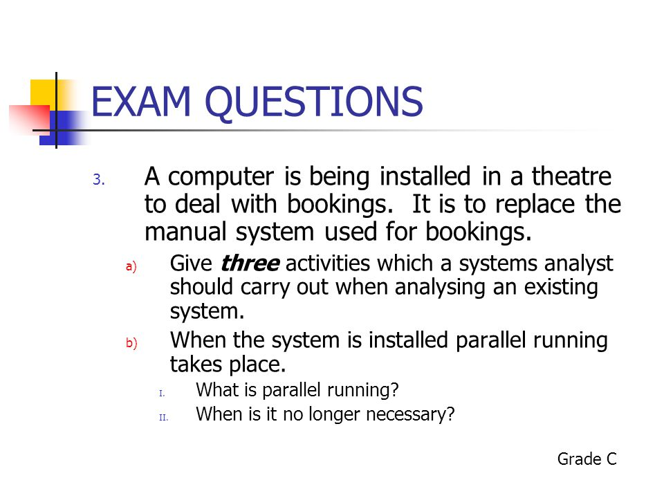 EXAM QUESTIONS 3.A computer is being installed in a theatre to deal with bookings.
