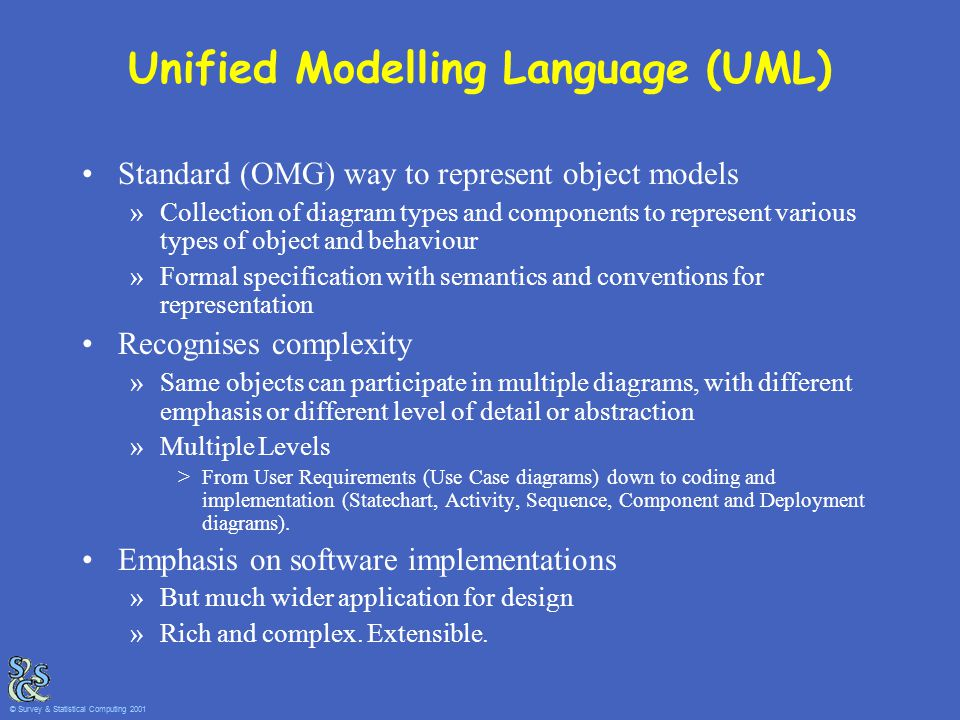 Unified Modelling Language (UML) Standard (OMG) way to represent object models »Collection of diagram types and components to represent various types