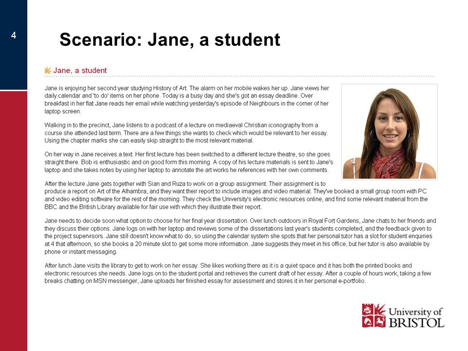 4 Scenario: Jane, a student