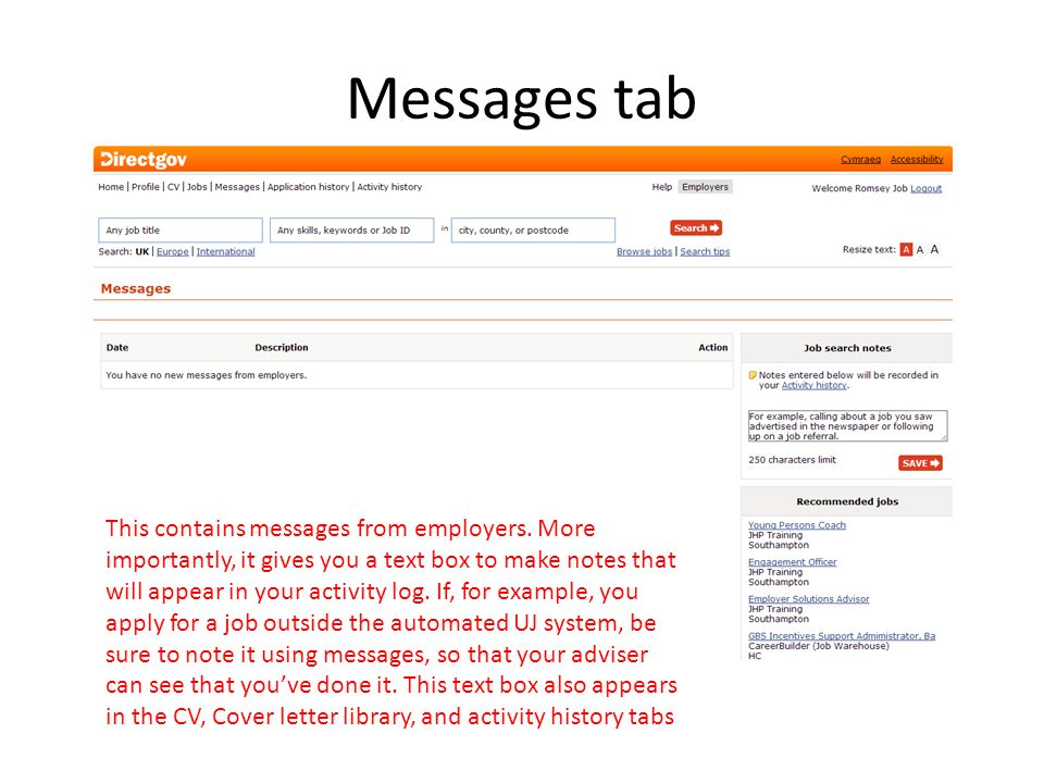 Messages tab This contains messages from employers.