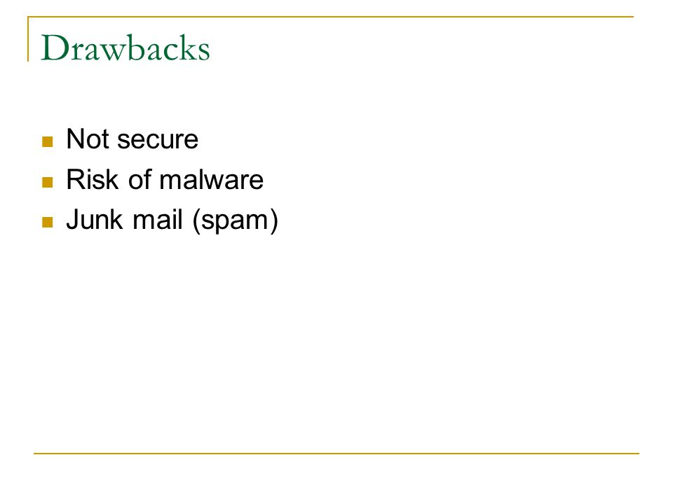 Drawbacks Not secure Risk of malware Junk mail (spam)