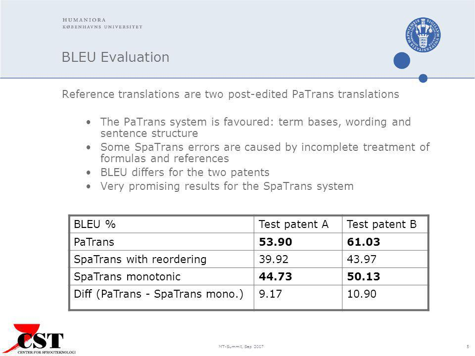 MT-Summit, Sep 2007 5 BLEU Evaluation Reference translations are two post-edited PaTrans translations The PaTrans system is favoured: term bases, word