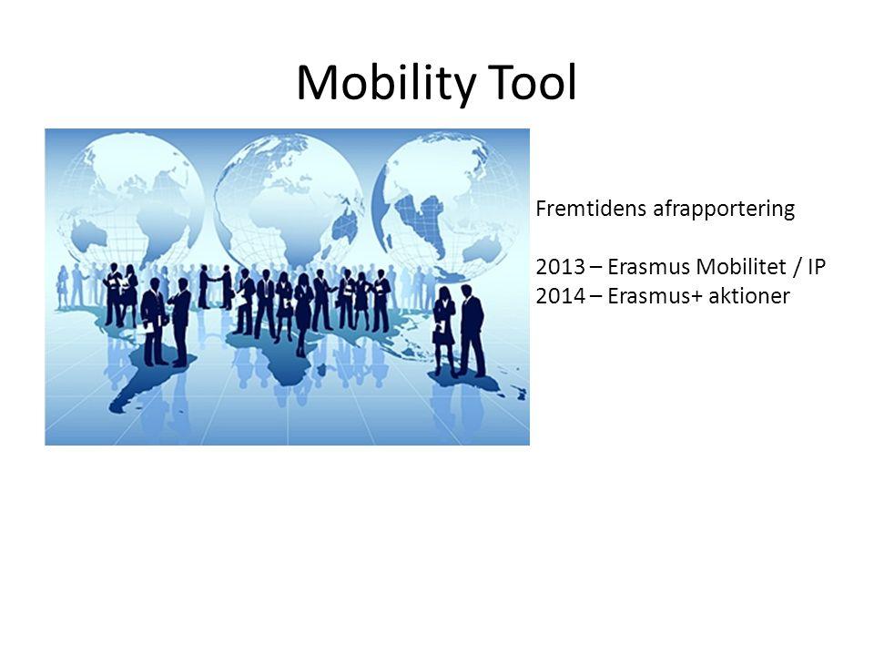 Mobility Tool Fremtidens afrapportering 2013 – Erasmus Mobilitet / IP 2014 – Erasmus+ aktioner