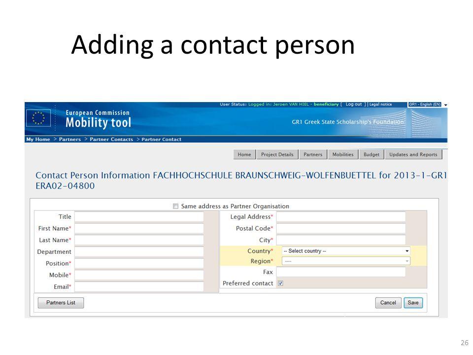 Adding a contact person 26
