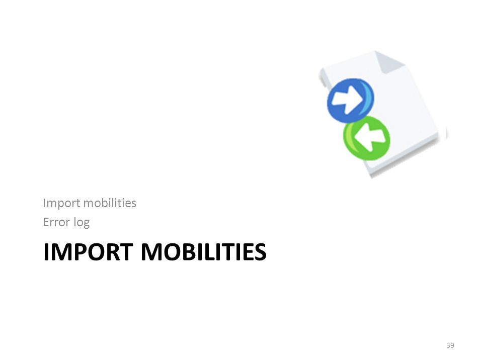 IMPORT MOBILITIES Import mobilities Error log 39