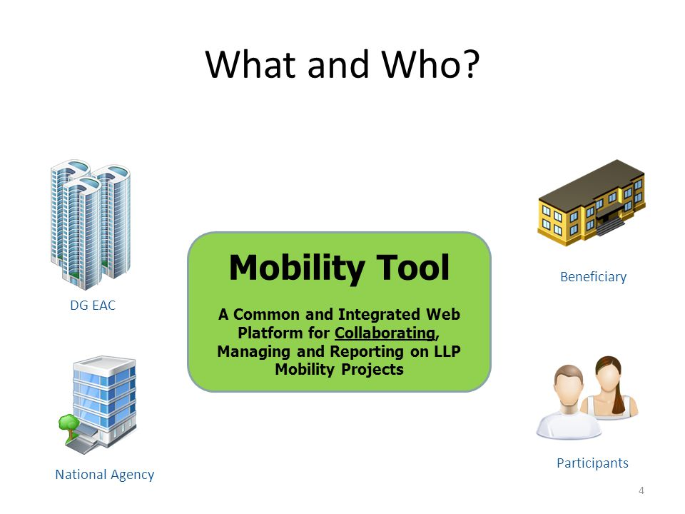 What and Who? Mobility Tool A Common and Integrated Web Platform for Collaborating, Managing and Reporting on LLP Mobility Projects DG EAC National Ag
