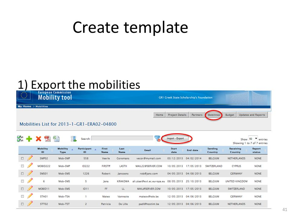 Create template 1) Export the mobilities 41