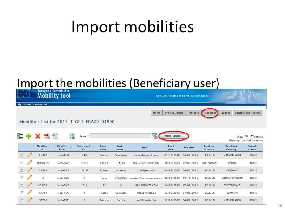 Import mobilities Import the mobilities (Beneficiary user) 45