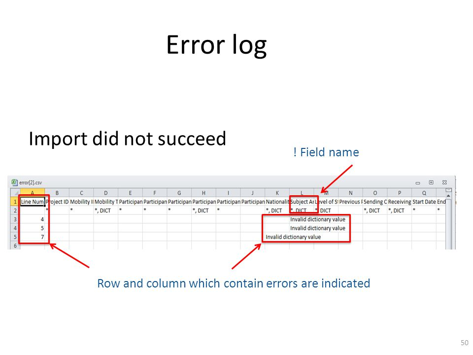 Error log Import did not succeed ! Field name Row and column which contain errors are indicated 50