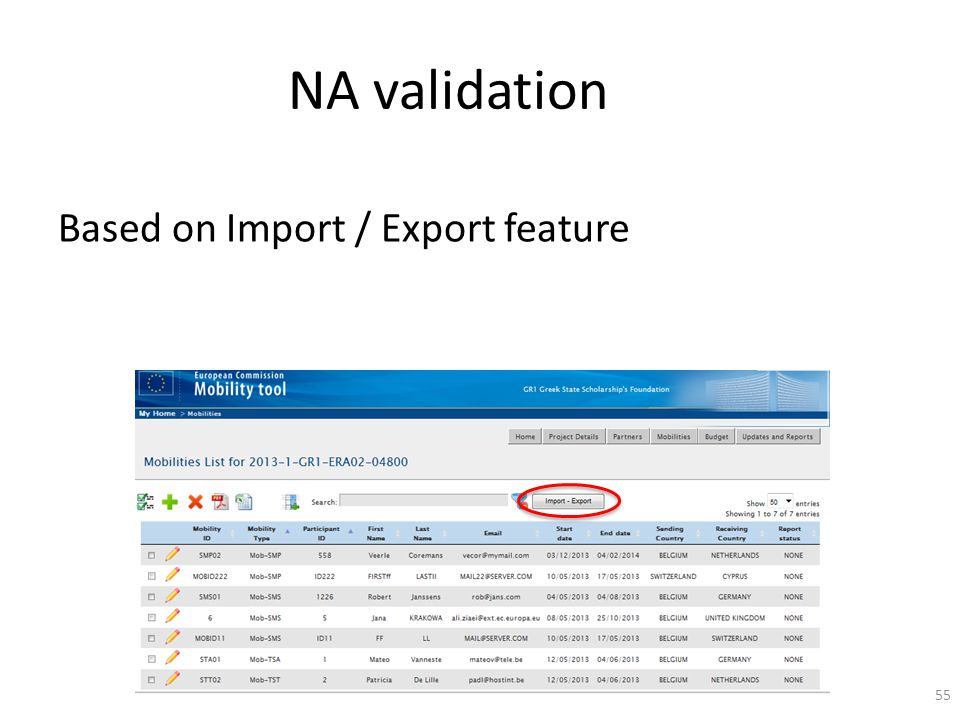 NA validation Based on Import / Export feature 55