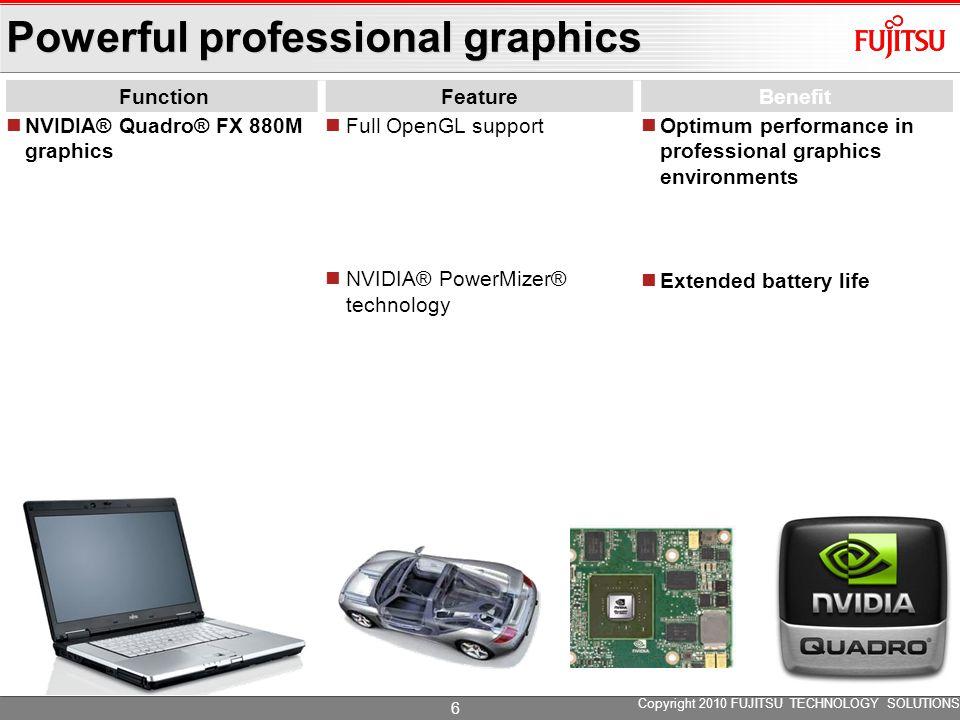 Powerful professional graphics FunctionFeatureBenefit NVIDIA® Quadro® FX 880M graphics Full OpenGL support NVIDIA® PowerMizer® technology Optimum perf