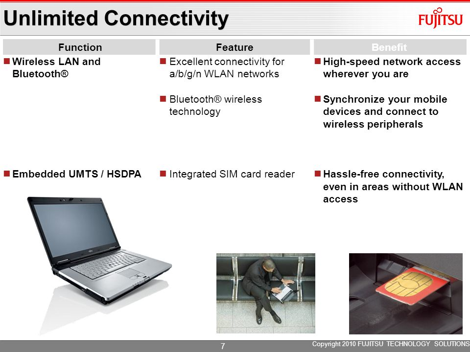 Unlimited Connectivity FunctionFeatureBenefit Wireless LAN and Bluetooth® Embedded UMTS / HSDPA Excellent connectivity for a/b/g/n WLAN networks Bluetooth® wireless technology Integrated SIM card reader High-speed network access wherever you are Synchronize your mobile devices and connect to wireless peripherals Hassle-free connectivity, even in areas without WLAN access Copyright 2010 FUJITSU TECHNOLOGY SOLUTIONS 7