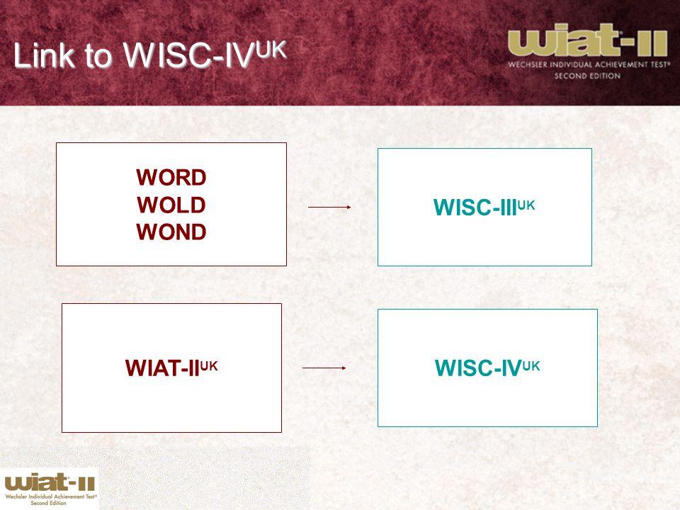 Link to WISC-IV UK WORD WOLD WOND WISC-III UK WIAT-II UK WISC-IV UK