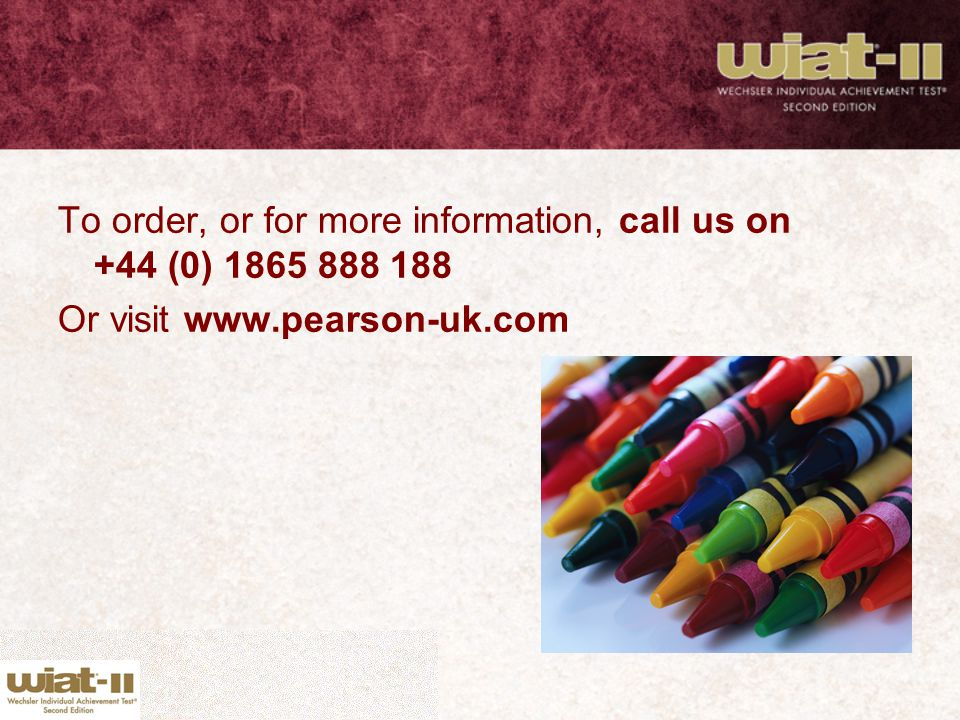 To order, or for more information, call us on +44 (0) 1865 888 188 Or visit www.pearson-uk.com