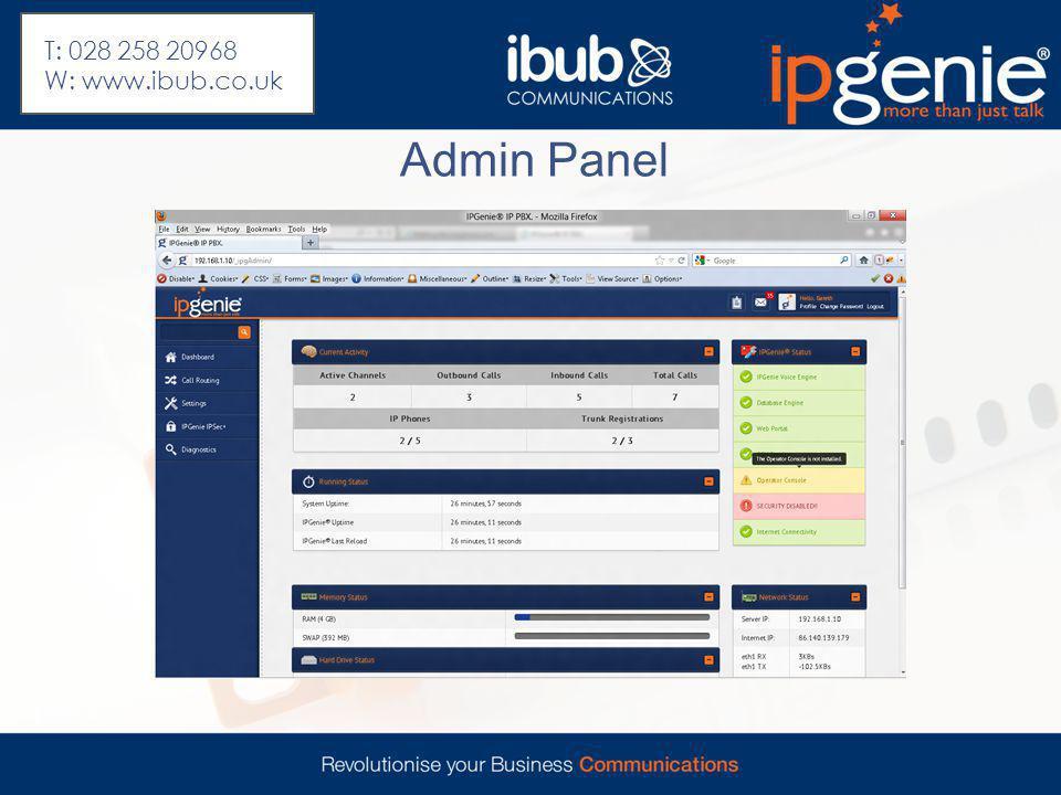 Admin Panel T: 028 258 20968 W: www.ibub.co.uk