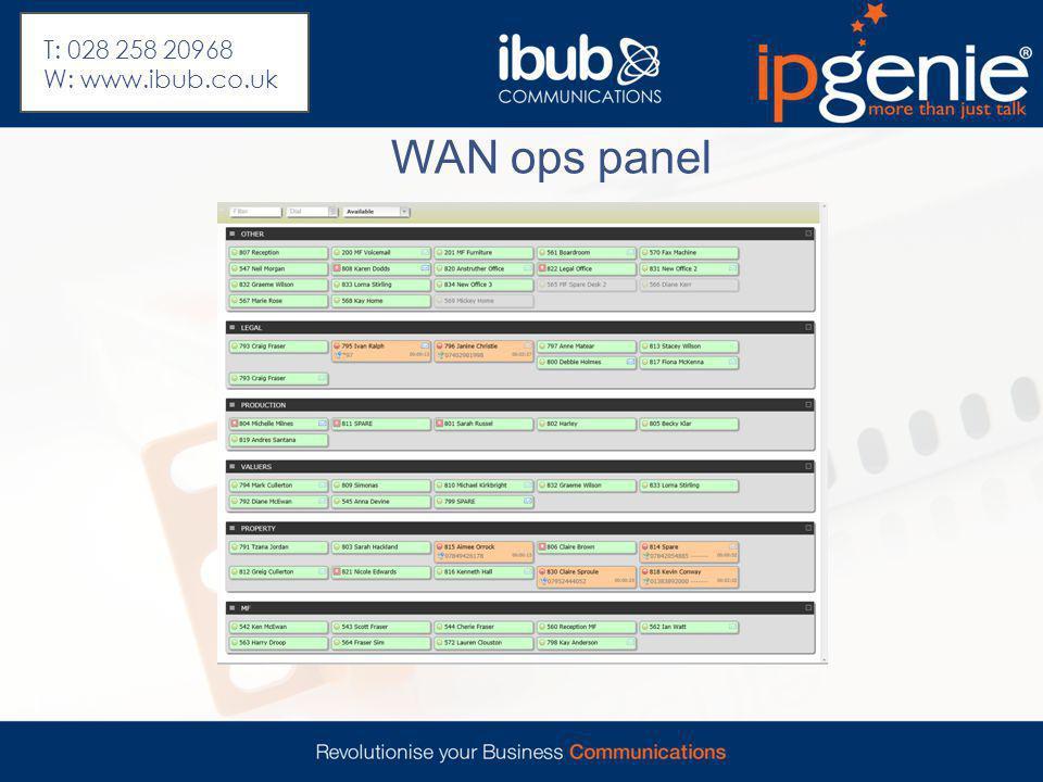 WAN ops panel T: 028 258 20968 W: www.ibub.co.uk