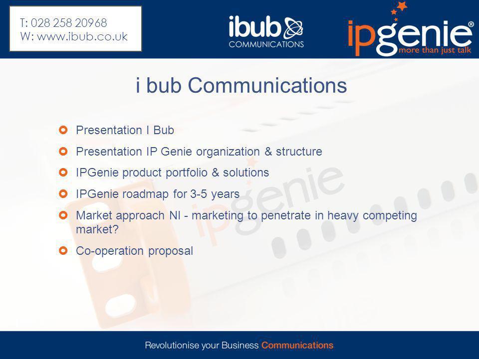 i bub Communications  Presentation I Bub  Presentation IP Genie organization & structure  IPGenie product portfolio & solutions  IPGenie roadmap f