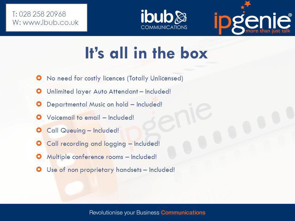 Wireless IP Desktop Range IPGWS320 wireless Desktop 12 key display IPGWS210 standard display T: 028 258 20968 W: www.ibub.co.uk