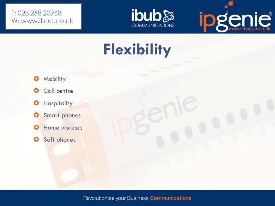 Flexibility  Mobility  Call centre  Hospitality  Smart phones  Home workers  Soft phones T: 028 258 20968 W: www.ibub.co.uk