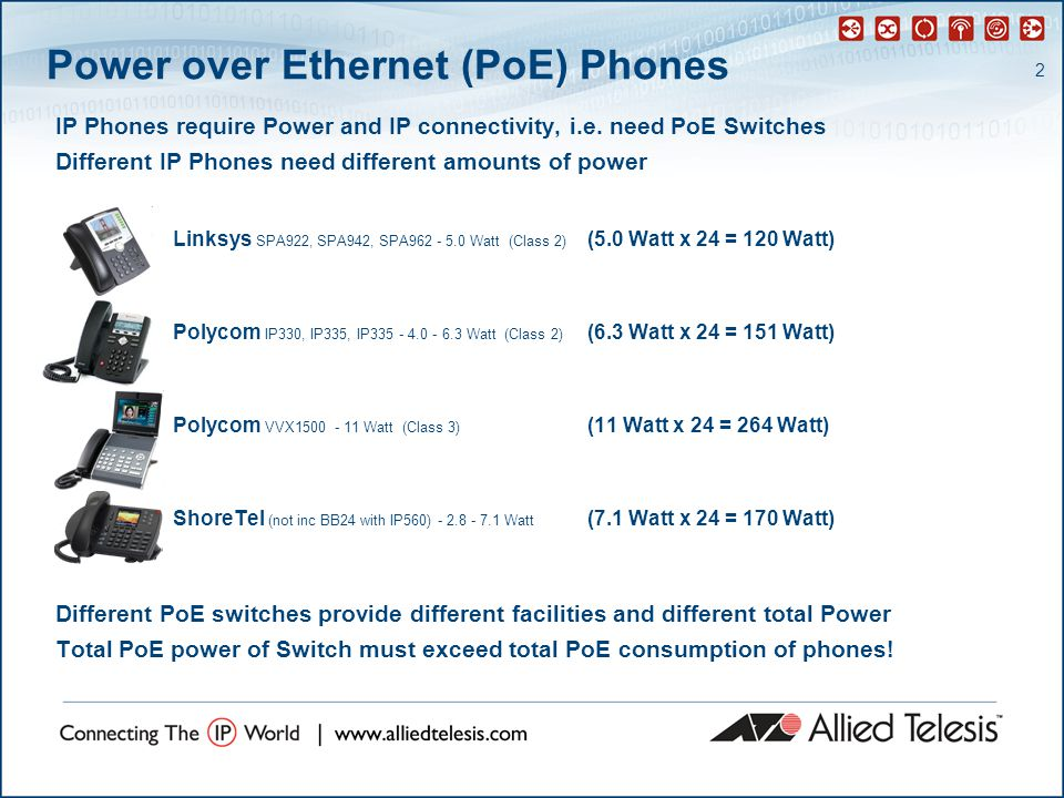 2 Power over Ethernet (PoE) Phones IP Phones require Power and IP connectivity, i.e.