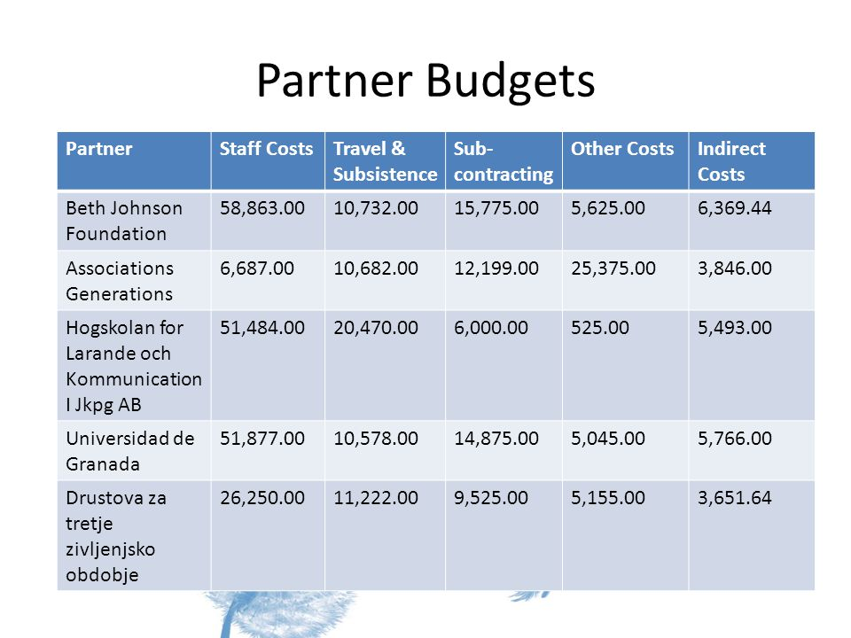 Partner Budgets PartnerStaff CostsTravel & Subsistence Sub- contracting Other CostsIndirect Costs Beth Johnson Foundation 58, , , , , Associations Generations 6, , , , , Hogskolan for Larande och Kommunication I Jkpg AB 51, , , , Universidad de Granada 51, , , , , Drustova za tretje zivljenjsko obdobje 26, , , , ,651.64