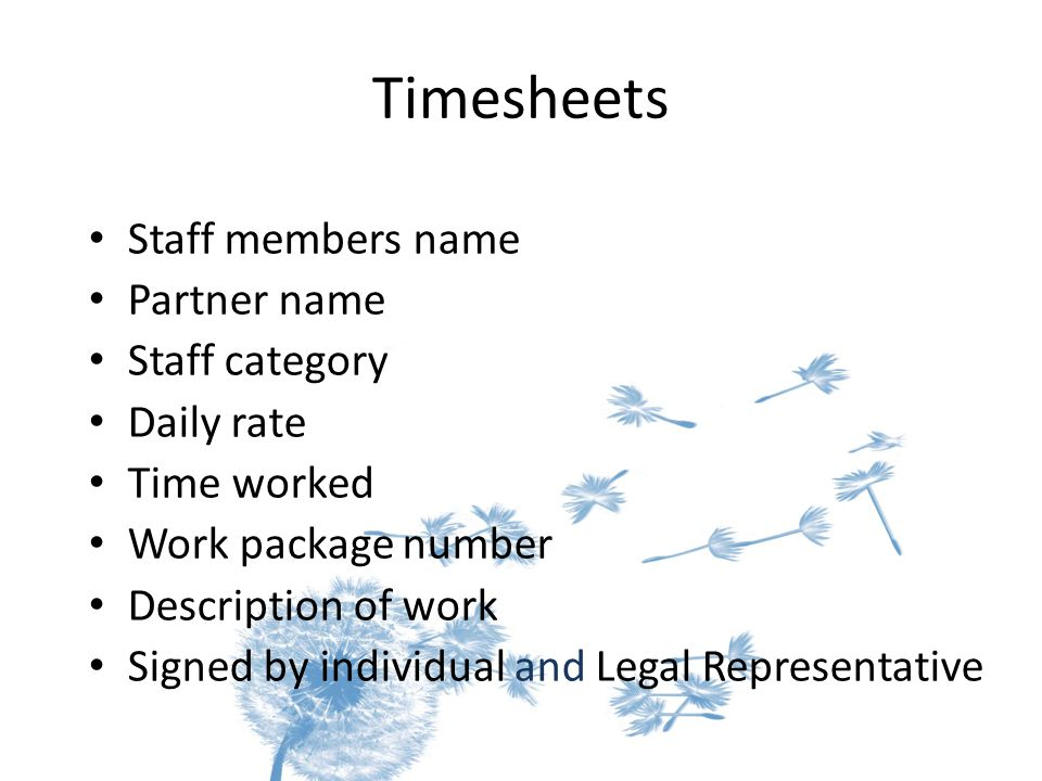 Timesheets Staff members name Partner name Staff category Daily rate Time worked Work package number Description of work Signed by individual and Lega