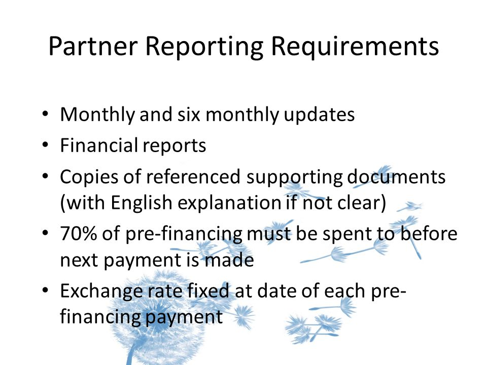 Partner Reporting Requirements Monthly and six monthly updates Financial reports Copies of referenced supporting documents (with English explanation i