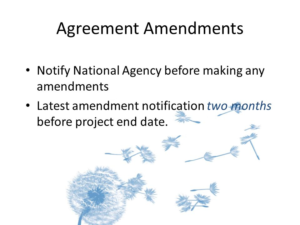 Agreement Amendments Notify National Agency before making any amendments Latest amendment notification two months before project end date.