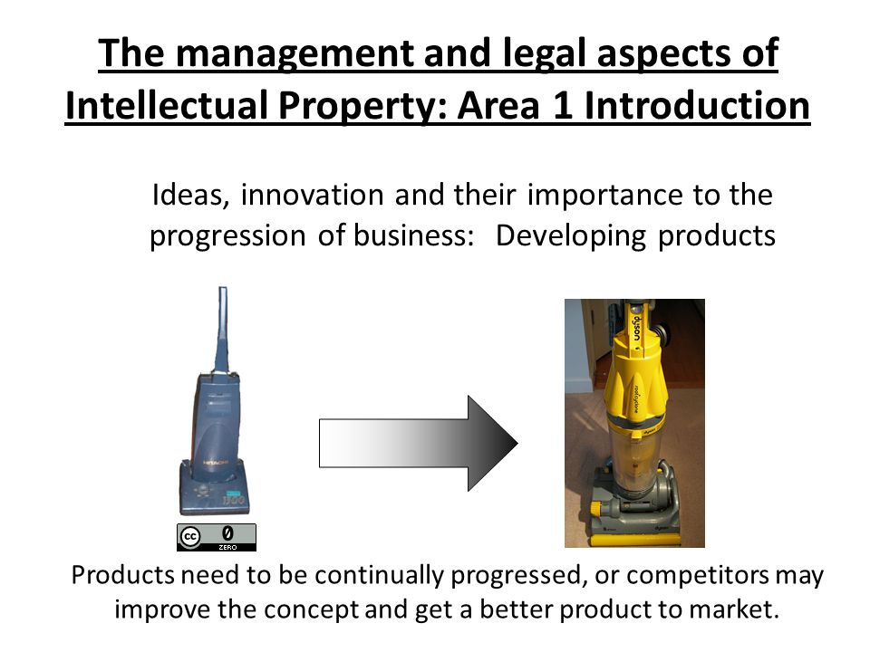 The management and legal aspects of Intellectual Property: Area 1 Introduction Ideas, innovation and their importance to the progression of business: