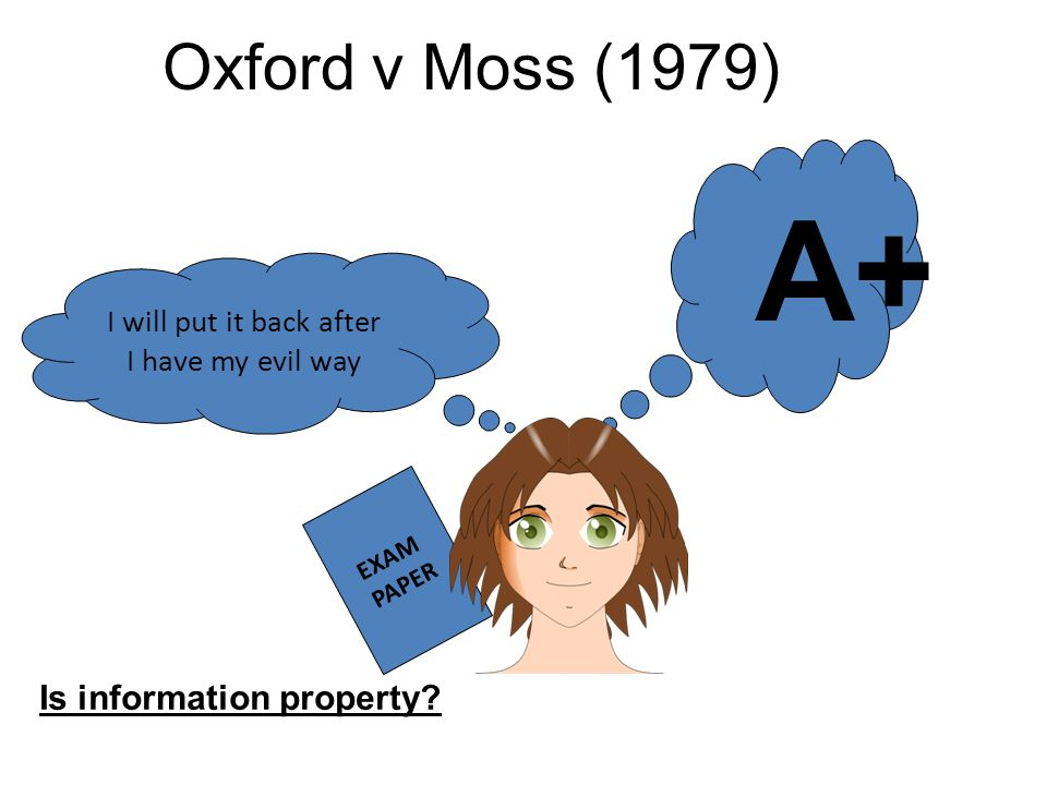 Oxford v Moss (1979) Is information property? EXAM PAPER I will put it back after I have my evil way A+