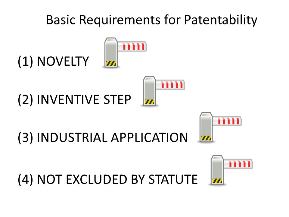 Basic Requirements for Patentability (1) NOVELTY (2) INVENTIVE STEP (3) INDUSTRIAL APPLICATION (4) NOT EXCLUDED BY STATUTE