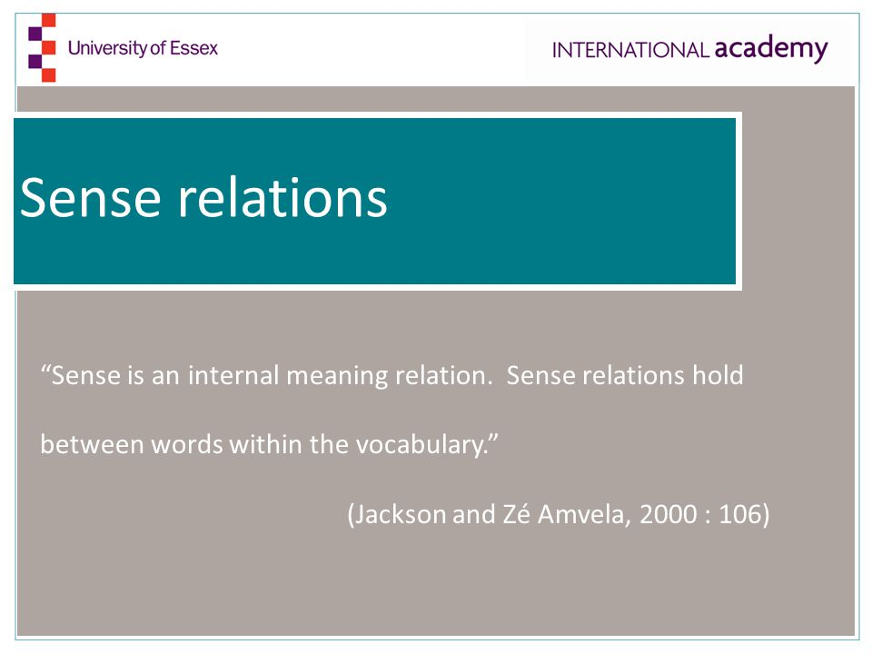 """Sense relations """"Sense is an internal meaning relation. Sense relations hold between words within the vocabulary."""" (Jackson and Zé Amvela, 2000 : 106)"""