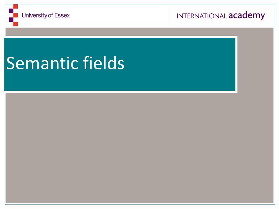 Semantic fields